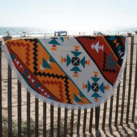 Special Geometry Pattern Round Beach Throw Mat