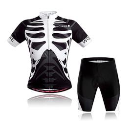 Men's Skeleton Cool Short Sleeve Jersey Black Bones Cycling Clothing