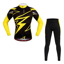 Men's Lightning Yellow and Black Long Sleeve Jersey Cycling Clothing