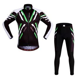 Men's Bright Green Strip Pattern Long Sleeve Jersey Cycling Clothing