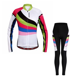 Women's Colorful Strips Pattern Long Sleeve Jersey White Cycling Clothing