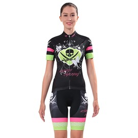 Female Black Skull Colorful Strip Breathable Jersey with Zipper Sponged Short Cycling Suit