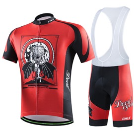 Male Red Graffiti Breathable Full Zipper Jersey Quick-Dry Cycling Bib Shorts Suit