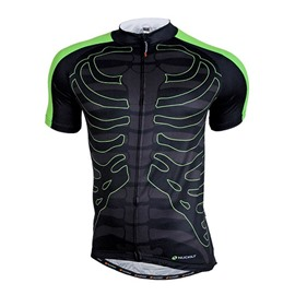 Male Black Skeleton Pattern Breathable Road Bike Jersey Full Zipper Cycling Jersey