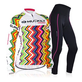 Female Rainbow Strips Breathable Long Sleeve Bike Jersey with Full Zipper Cycling Suit