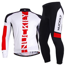 Male White Long Sleeve Breathable Bike Jersey with Full Zipper Sponged Cycling Suit