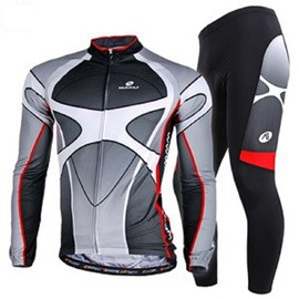 Male Black Long Sleeve Bike Jersey with Full Zipper Breathable Sponged Cycling Suit