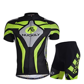 Male Black Short Sleeve Bike Jersey with Full Zipper Quick-Dry Cycling Suit