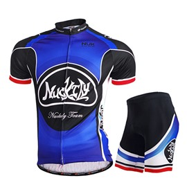 Male Blue Bike Quick-Dry Short Sleeve Jersey with Full Zipper Quick-Dry Cycling Suit