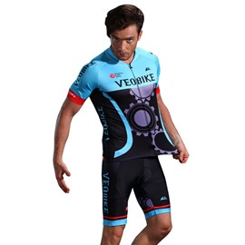3D Silicone Magic Padded for Bike Men Cycling Jersey Set Blue