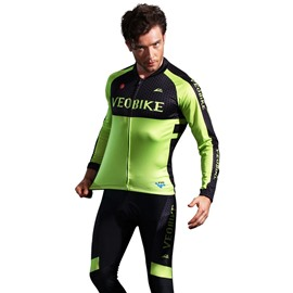 Green Grassland Breathable Quick Dry Long Sleeve Men's Cycling Jersey