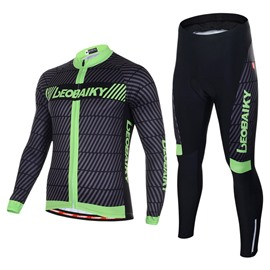 Men's Cycling Clothing Set Breathable Quick Dry Long Sleeve Jersey Green