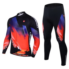 Men's Cycling Clothing Set Breathable Quick Dry Long Sleeve Jersey Glitter