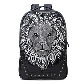 3D Lion Face Studded Backpack PU Leather Rucksack Shoulder Bag