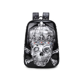3D Crown Skull Studded Backpack PU Leather Shoulder Bag
