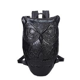 3D Cute Owl Studded Backpack PU Leather Shoulder Bag