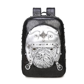 3D Dog with Hat Studded Backpack PU Leather Rucksack Shoulder Bag