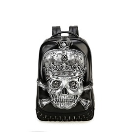 3D Skull Studded Backpack PU Leather Rucksack Shoulder Bag