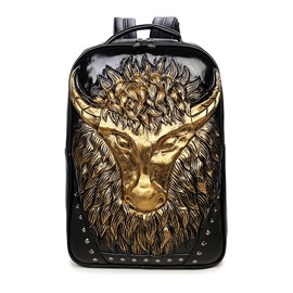 Cow Head 3D PU Leather Casual Laptop Backpack School Bag
