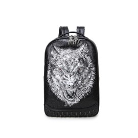 3D Wolf Head Studded Backpack PU Leather Rucksack Shoulder Bag