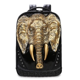Elephant Head Fashion PU Leather Casual Laptop Backpack