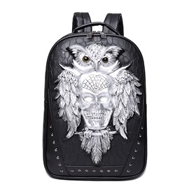 3D Owl and Skull Studded College Backpack PU Leather Shoulder Bag
