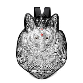 3D Fox Studded College Backpack PU Leather Shoulder Bag