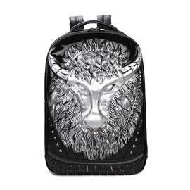 Cattle Head 3D PU Leather Casual Laptop Backpack School Bag