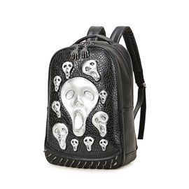 Many Skull Face 3D PU Leather Casual Durable Laptop Backpack School Bag
