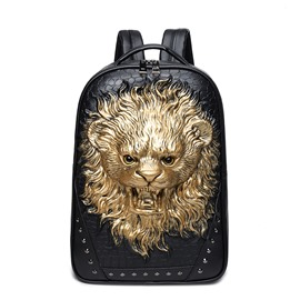 Lion Roar Head 3D PU Leather Durable Casual Laptop Backpack School Bag