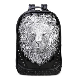 Personalized 3D Lion PU Leather Casual Laptop Backpack School Bag