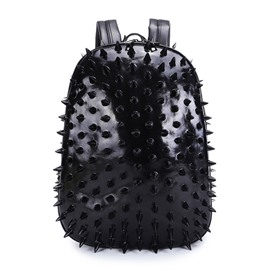 Personalized 3D Hedgehog PU Leather Casual Laptop Backpack School Bag