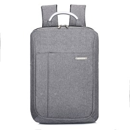 Pure Color Business Style Multi Layer Polyester Laptop Backpack