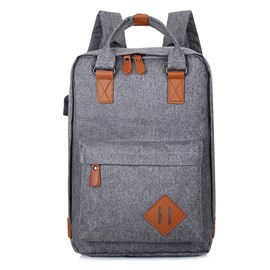 USB Charging Design Multi Space Solid Polyester Laptop Leisure Backpack
