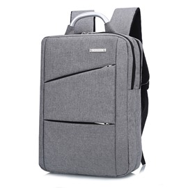 Plain Business Simple Style Oxford Waterproof Zipper Computer Backpack