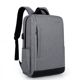Business and Simple Recharge Waterproof Laptop Polyester Backpack