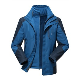 Male Outdoor 3 in 1 Waterproof and Windproof Front Zipper Jacket