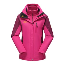 Female Outdoor 3 in 1 Bright Color Windproof and Waterproof Camping and Hiking Warm Jacket