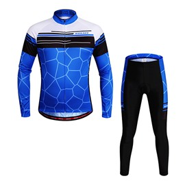 Men's Blue Faveolate Long Sleeve Jersey Biking Outfit Cycling Clothing