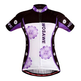 Men's Purple Flowers Pattern Short Sleeve Jersey Cycling Clothing