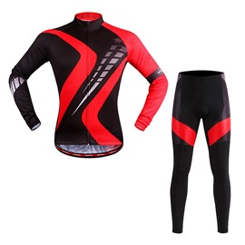 Men's Black Long Sleeve Biking Outfit with Red Strips Cycling Clothing