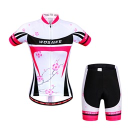 Men's Plum Blossom Pattern White 3D Padded Short Outfit Cycling Clothing