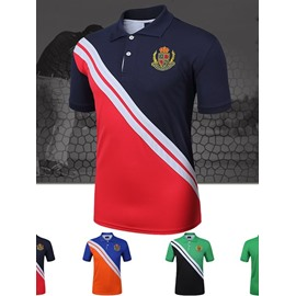 Preppy Look Bright Color Short Roll Lapel Sleeve Outdoor Jersey Men Quick Drying Shirt