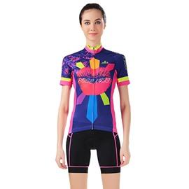 Female Road Bike Jersey with Zipper Kiss Pattern Sponged Cycling Suit