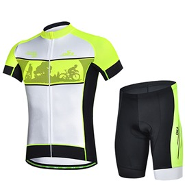 Male Fluorescence Yellow Bike Road Jersey Sponged Short Cycling Suit