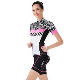 Female Scrawl Pattern Road Bike with Jersey Sponged Short Cycling Suit