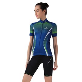 Female Green Road Bike Jersey Breathable Short Sleeve Bike Cloth Cycling Suit