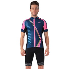 Male Purple Breathable Modern Road Bike Jersey with Zipper Sponged Short Cycling Suit