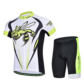 Male Breathable Bee Pattern Quick-Dry Bike Jersey with Zipper Short Cycling Suit
