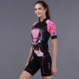 Female Evil Punk Road Bike Jersey with Zipper 3D Padded Short Cycling Suit